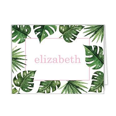 Palm Leaves + Cabana Stripe Personalized Foldover Notecards