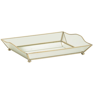 New Mirror Curved Metal and Glass Large Vanity Tray