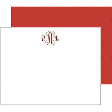 Script Monogram Red Flat Notecards