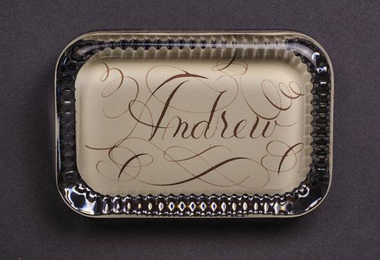 Custom Monogram Name Glass Decorative Paperweight In Gift Box