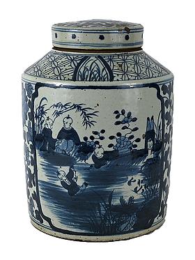 Blue & White Porcelain Medium Tea Jar With Lid - Pond Landscape