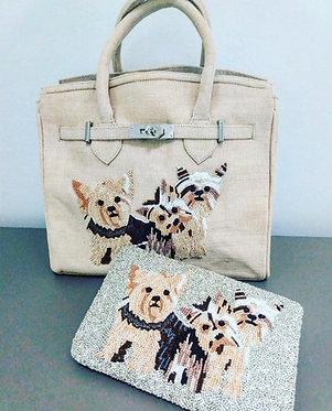 Custom Monogram Pet Beaded Tote Handbag