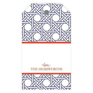 Blue/White/Orange Cane Gift Tags