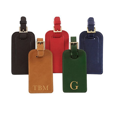 Graphic Image Leather Monogrammed Luggage Tag Traditional Colors