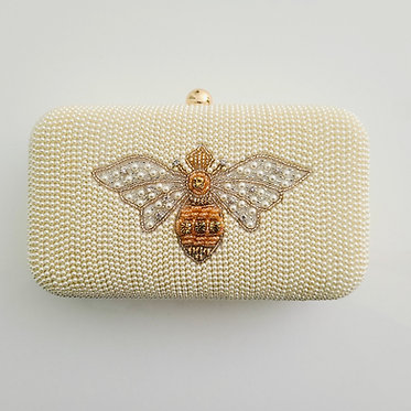 Hard Sided Beaded Pearl Bee Clutch With Chain Strap