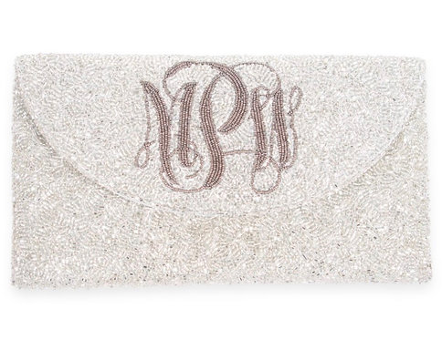 Custom Monogram Envelope Envelope Beaded Clutch Handbag With Chain Strap - Scrip