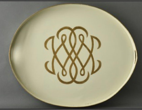 JM Piers Creme and Gold French Monogram Metal Tole Hand Painted Tray