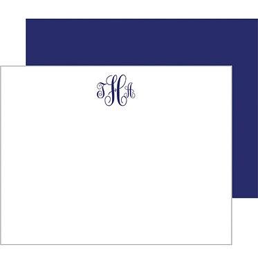 Script Monogram Navy Blue Flat Notecards