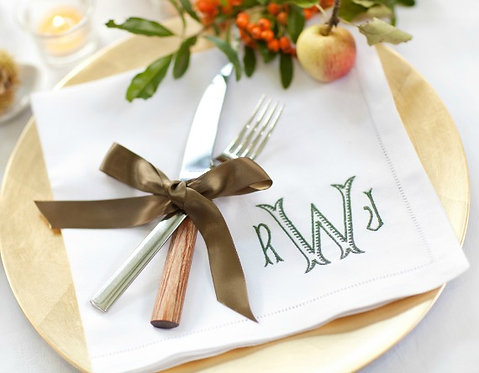 Monogram Linen Dinner Napkins Set of 4 Made In Store
