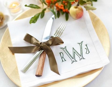 """Monogram Linen Dinner Napkins Set of 4 - 22""""x22"""""""
