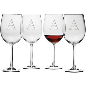 Monogrammed Bordeaux Luigi Bormioli Glasses, 20oz, SET OF 4