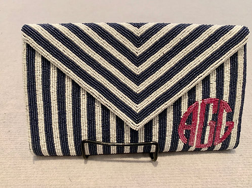 LARGE Custom Monogram Vertical Stripe Beaded Flap Evening Bag Clutch With Chain
