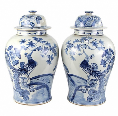 Blue & White Porcelain Ginger Jar Pair with Lids - Birds | Floral