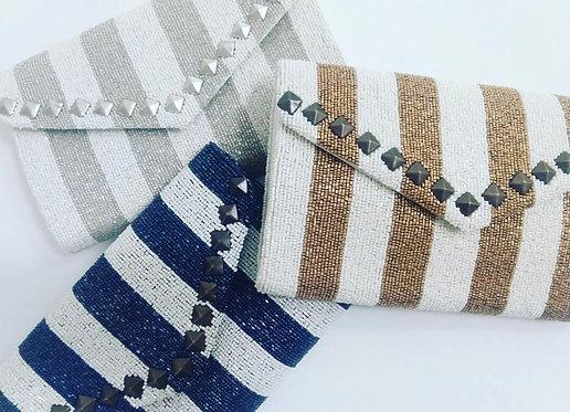 Custom Monogram Nail Envelope Beaded Clutch Handbag With Chain Strap