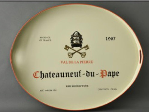 Chateauneuf Du Pape Metal Tole Hand Painted Tray