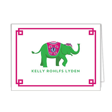 Pink/Green Elephant Personalized Foldover Notecards
