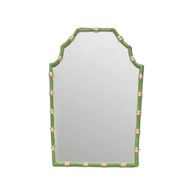 Bamboo Mirror In Green and Gold