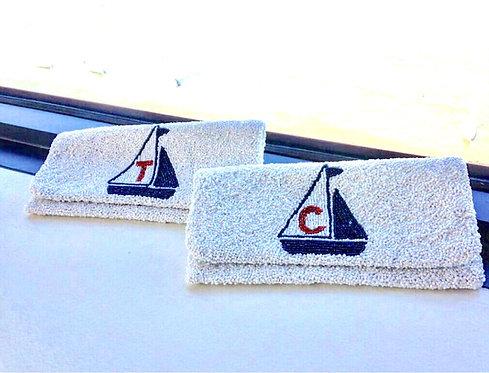 Classic Flap Custom Sailboat Monogram Beaded Clutch