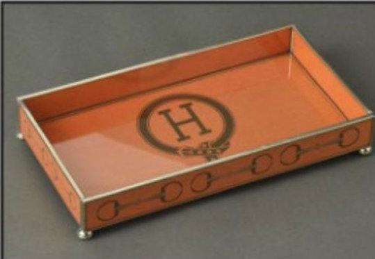 "H Monogram 6"" x 12"" Metal and Glass Vanity Tray"