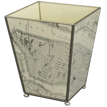 New York Map Metal and Glass Wastebin Wastebasket