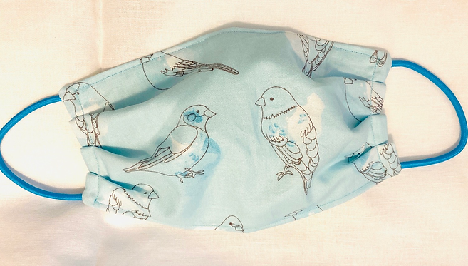 Blue Birds Fabric Face Mask - Multiple Sizes - Classic or Filter Style