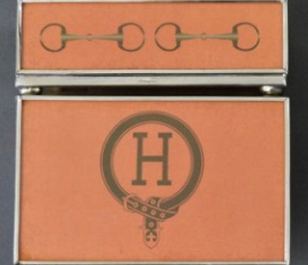 H Monogram Metal and Glass Decorative Matchbox Cover