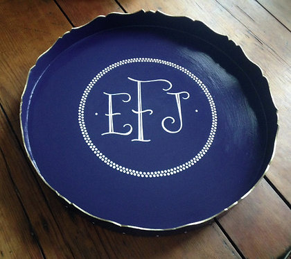 "Hand Painted Custom Monogram 20"" Round Tray With Edge Painting and Boarder"