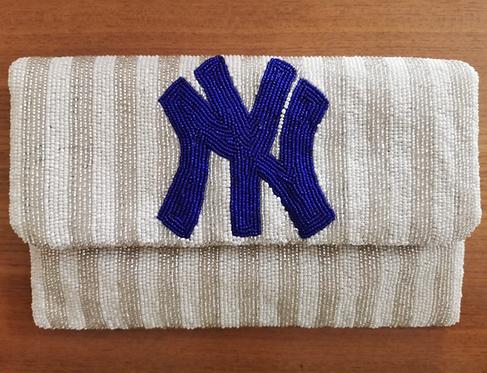 "Custom Monogram Large Bead Flap Clutch Handbag 7""x10"" New York Yankees Inspired"