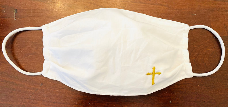 Cross Embroidered Fabric Face Mask - Multiple Sizes