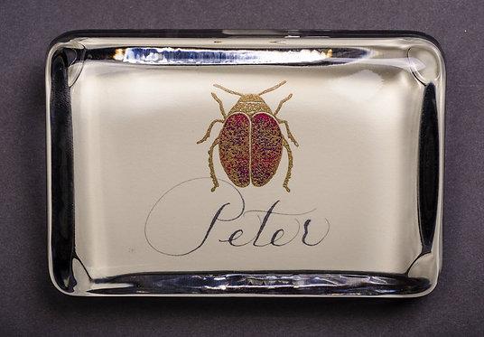 Custom Embossed Scarab Monogram Name Glass Paperweight In Gift B