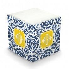 Suzani Navy Monogram/Name Sticky Memo Cube