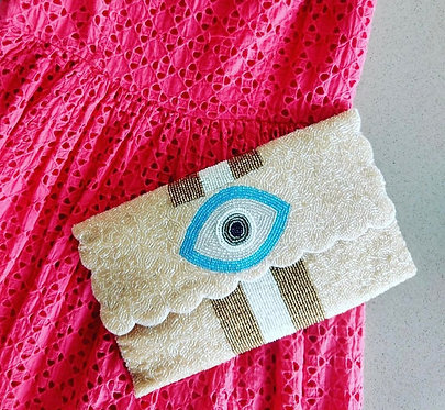"Custom Monogram Envelope Beaded Clutch Handbag 4""x9"" Evil Eye"
