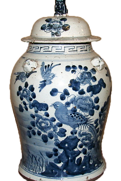 Blue & White  Porcelain Temple Jar - Bird | Floral w/ Foo Dog Topper