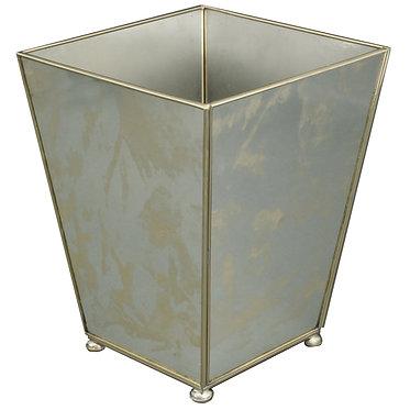 Antique Mirror Metal and Glass Wastebin Wastebasket Trashcan