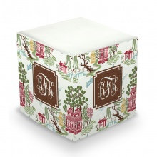 Chinoiserie Autumn Monogram/Name Sticky Memo Cube