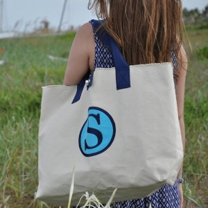 COLE Large Tote with Dot Applique and Embroidered Monogram