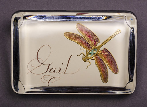 Custom Embossed Dragonfly Monogram Name Glass Paperweight In Gift Box