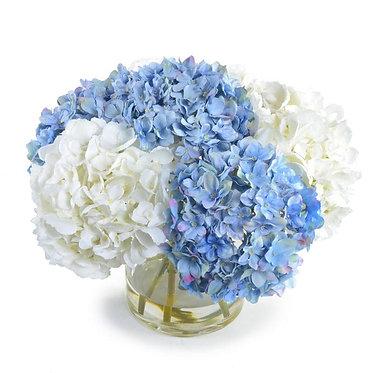"""11.5"""" Hydrangea Arrangement - Blue & White"""