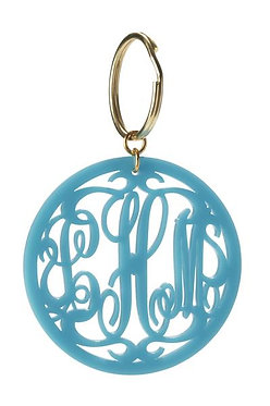 Custom Monogram Round Cutout Script Key Chain