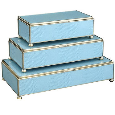 Blue Lizard Print Metal and Glass Rectangle Stacking Lidded Boxes Set of 3