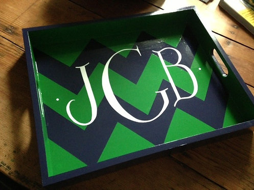 "Hand Painted Custom Monogram Chevron 18""x14"" Flat Edge Tray"