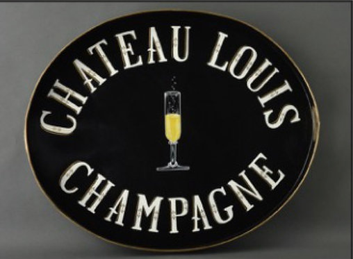 JM Piers Chateau Louis Champagne Black Metal Tole Hand Painted Tray
