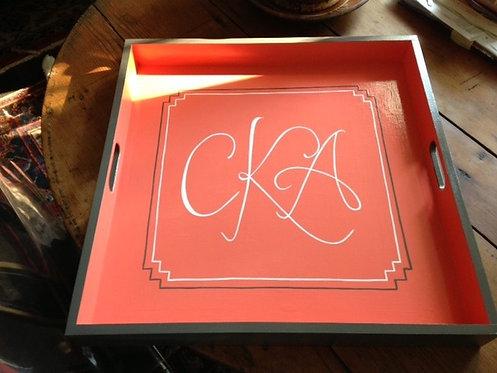 """Hand Painted Custom Monogram 24""""x24"""" Flat Edge Tray"""