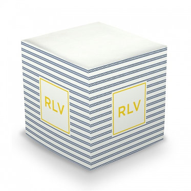 Rope Stripe Navy Monogram/Name Sticky Memo Cube