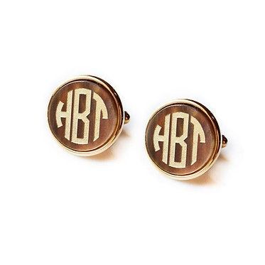 Custom Monogram Vineyard Round Cuff Links