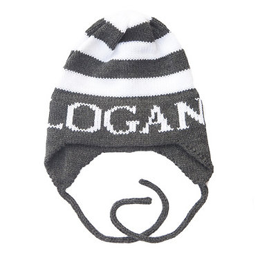 Modern Stripe Name Hat With Earflaps