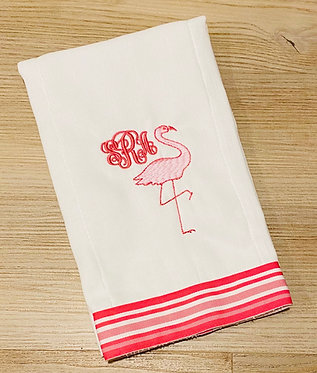 Custom Pink Stripe Grosgrain Ribbon Embroidered Burp Cloth - Personalized