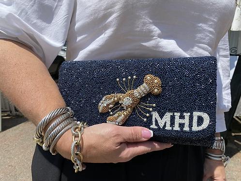 Custom Lobster Monogram Envelope Beaded Clutch Handbag With Chain Strap