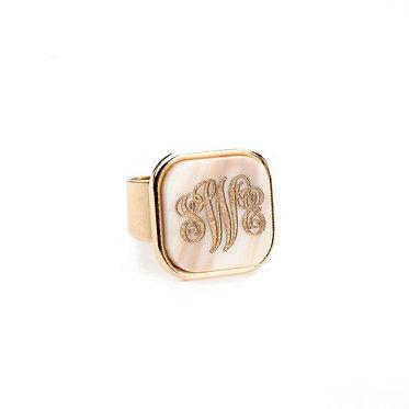 Custom Monogram Vineyard Square Ring