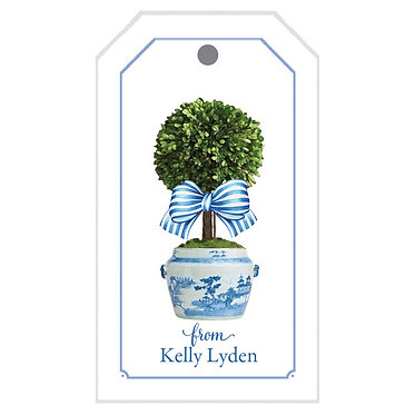 Boxwood in Blue and White Jar Gift Tags
